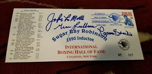 Jake LaMotta Gene Fullmer Carmen Basilio signed Ray Robinson envelope JSA COA