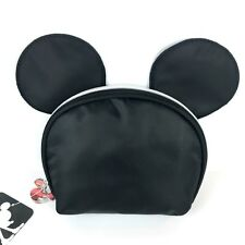Disney Mickey Mouse Vintage Mickey Ears Round Top Black Cosmetic Makeup Bag
