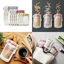 Mason Jar Pattern Food Saver Storage Bags Reusable Snack Ziplock Bags Kitchen US
