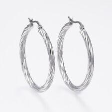 Twist Hoop Earrings - 42mm - Hypoallergenic Stainless Steel BOXED