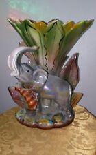 Vtg.Bone China Elephant Vase W/Tiger
