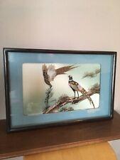 Couple d'oiseaux en 3D . Tableau motifs Japonisants . Vintage . Plumes veri