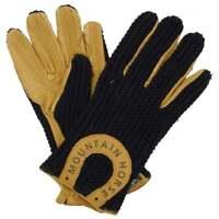 Mountain Horse Adult Crochet Gloves Black - Horse Riding Gloves