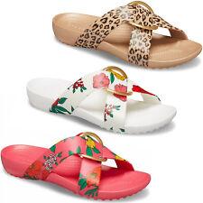 Crocs Serena Printed Cross-Band Slides Womens Summer Holiday Flip Flops Sandals