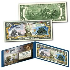 IWO JIMA Raising the Flag WWII * Then & Now * Genuine Legal Tender U.S. $2 Bill