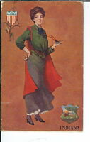 AX-173 - Indiana State Girl, Artist Signed by St. John, 1907-1915 Postcard