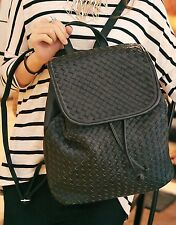 Large Black Woven Faux Leather Buckle Flap Drawstring Backpack