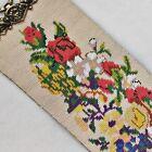 Vintage Roses & Cornucopia Needlework Bell Pull Brass Serpentine Ends Green Back