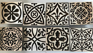 Set Of Wooden Printing Blocks Square Designs And Accessories