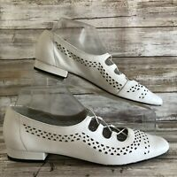 Vaneli 8.5AAA Slip On Laced Flats Loafer White Perforated Leather Slip On Womens
