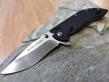 Real Steel E77 Folding Flipper Knife Black G10 Satin Drop Pt 8Cr14MoV EDC 5112