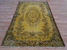"7'2""  X 3'10""   Vintage destressed YELLOW  color reform Overdyed rug carpet"