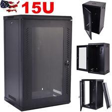15U Network Server Data Cabinet Wall Mount Enclosure Rack Glass Door Lock w/ Fan