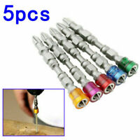 5 Pcs Colored Magnetic Coil Screwdriver Set Extractor Remover Cross Drill Bit