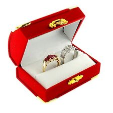 Red Velvet Double Ring Box Display Jewelry Gift Treasure Chest Velour 1 Dozen