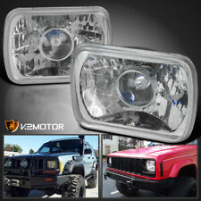 7X6 H4 Conversion Crystal Projector Headlights H6014 H6052 H6054 w/ H4 Bulbs