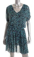 Victoria's Secret Moda ~ Teal Leopard Mesh Blouson Casual Dress M NEW $60