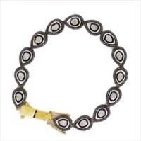 925 Sterling Silver Antique Rose Cut Polki Victorian Style Real Diamond Bracelet