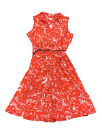 New $100 value! CHARTER CLUB 16W Red Nautical Pattern Sleeveless Collared Dress