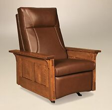 Amish Mission Arts and Crafts Recliner Rocker McCoy Solid Wood Leather