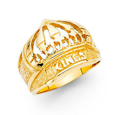 Men's 14k yellow Solid Gold Bold Kings Crown Ring size 10
