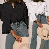 Women Long Puff Sleeve V-neck Loose Top Lace Floral Tee T Shirt Plus Size Blouse