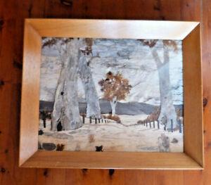 """Australian Outback """"Bark Art"""" Vintage Bush Scene in Deep Angled Frame - Signed"""