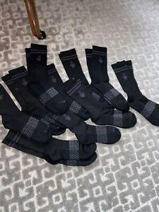 Lot Of 10 BOMBAS Black Unisex Crew Socks Large Medium Men Woman