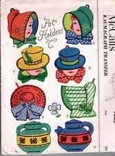 Victorian COUNTRY Hats LADIES Teapots Pot Holder PATTERNS Kaumagraph Transfer