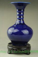 Ancient blue glaze Hand-painted Porcelain Vase w Ming Dynasty jiajing Mark b02