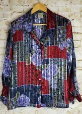 Allison Daley Sz 14 Petite Floral Sheer Long Sleeve Blouse Top Shirt Purple