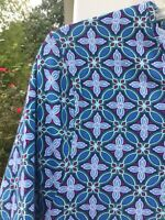 NWT Talbots Cute Blues Maroon Green White Geometric Pattern T-Shirt 3X 22W 24W