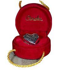Vintage Sterling Silver Carolee Heart Shaped Trinket Pillbox & Velvet Gift Box