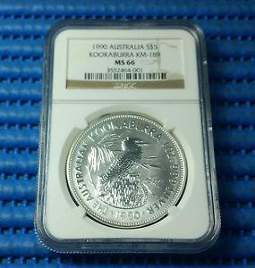 1990 Australia $5 Kookaburra 1 oz 999 Fine Silver Coin NGC MS 66