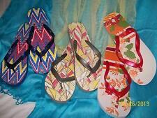 Ladies Printed Flip Flops LOT - 3 pairs - Grey - Red - Blue - Size Medium (7-8)