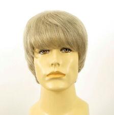 Perruque homme 100% cheveux naturel blanc méché gris EMILE 51