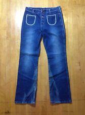 Vintage 70' Retro Disco Leisure Navy Style High Waist Wide Leg Blue Jeans 13/14