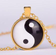 Yin Yang-Anhänger vergoldet mit Kette
