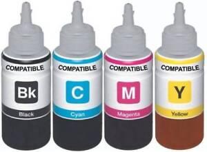 4 x Universal Ink Bottles BCMY Non-OEM Alternative For HP Printers - 100ml