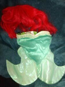 Build A Bear Disney Little Mermaid Ariel Tail Skirt  Red Hair Wig Lot 2 pc