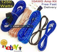 AMPLIFIER WIRING KIT 1250 WATT POWER CAR AMP 10 AWG 10g GAUGE SUB CABLE BASS!!
