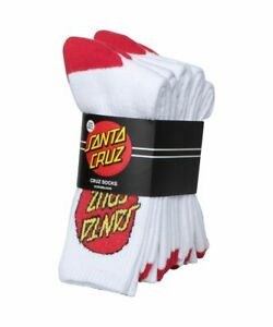 Santa Cruz Socks 4 Pack White Crew Size 2-8 New Youth Skateboard Sox
