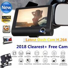 "4"" HD 1080P 3 Lens Car Auto DVR Dash Cam Vehicle Video Recorder Rearview Camera"