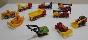 """10 Toy Work Vehicle Trucks Metal & Plastic About 3"""" Hook Scoop Dump Mixer"""