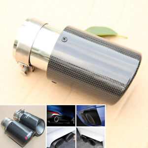 Deluxe Tail Exhaust Pipe Tip 63mm Car Muffler Accessories Carbon Fiber w/ Clamp