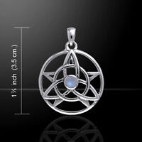 Druid Amulet Pentacle Pendant Trinity Choice of Gem Sterling Silver Peter Stone