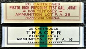 FRANKFORD  M1911 HPT & TRACER  SPECIALTY  WW2 NEW REPLICA 20 ROUND AMMO BOXES