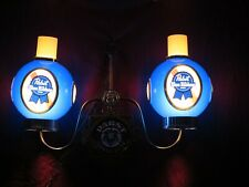 Vintage Pbr Pabst Blue Ribbon Bar Pool Poker Table Pub Double Light Sign Chain