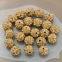 10mm Rhinestone Crystal Round Disco Ball Shamballa Beads 100pcs Craft Styles