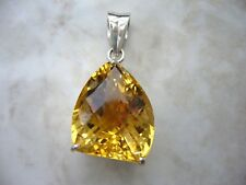 Big natural yellow whisky topaz 26ct silver pendant perfect birthday gift